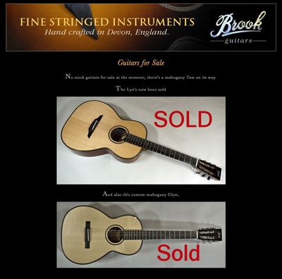 Brook Guitars Shop Update! 26 March 2015
